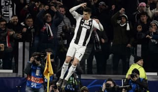 Cristiano Ronaldo celebrates scoring a hat-trick for Juventus against Atletico Madrid