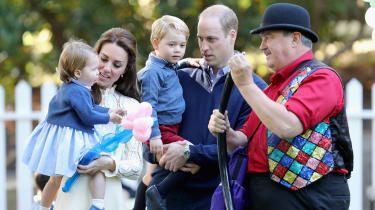 VICTORIA, BC - SEPTEMBER 29:Catherine, Duchess of Cambridge, Princess Charlotte of Cambridge and Prince George of Cambridge, Prince William, Duke of Cambridge at a children's party for Milita