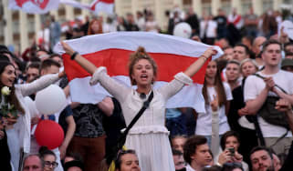 Pro-democracy protestors demonstrate in Minsk, Belarus.