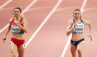 Krystsina Tsimanouskaya (left) alongside Beth Dobbin of Team GB