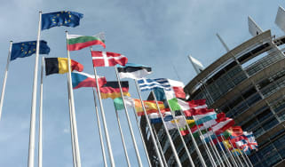 Member flags fly outside the European Parliament in Brussels