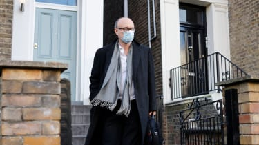 Dominic Cummings leaves his residence in London wearing a face mask.