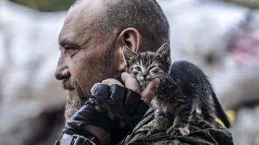 Pro-Russian separatist pets a kitten