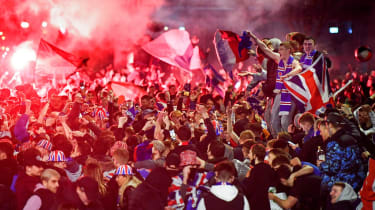 Rangers fans gathered in George Square in Glasgow to celebrate the title win