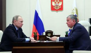 Russian President Vladimir Putin meets with Rosneft CEO Igor Sechin