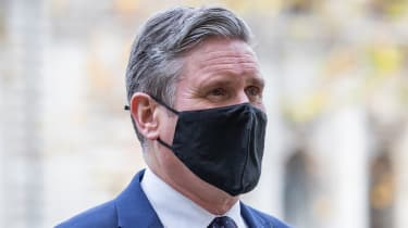 Keir Starmer arrives at Westminster Abbey to attend a service to mark Armistice Day.