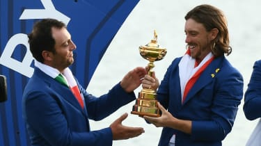 Team Europe golfers Francesco Molinari and Tommy Fleetwood celebrate the Ryder Cup victory