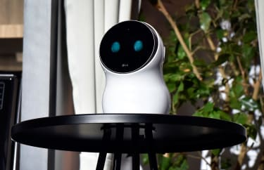 LAS VEGAS, NV - JANUARY 08:LG Electronics's CLoi robot is displayed during a LG press event for CES 2018 at the Mandalay Bay Convention Center on January 8, 2018 in Las Vegas, Nevada. CES, th