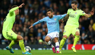Man City midfielder Bernardo Silva in action against Dinamo Zagreb in the Champions League