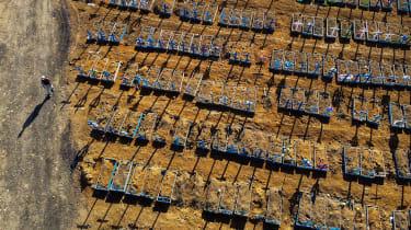 A coronavirus mass grave in Manaus, Brazil, earlier this year