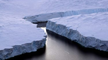 An enormous iceberg breaking off the Knox Coast in the Australian Antarctic Territory