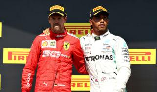 Ferrari's Sebastian Vettel and Mercedes driver Lewis Hamilton on the podium in Canada