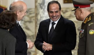 Egyptian defence minister and his French counterpart in the presence of President Sisi