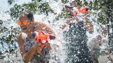 Water fight in heatwave