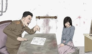 An image depicting systemic sexual violence against women in North Korea