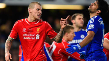 Martin Skrtel of Liverpool FC clashes with Diego Costa of Chelsea