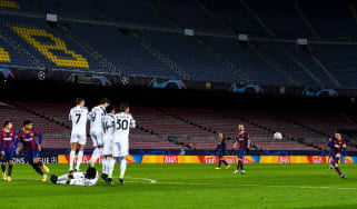 Barcelona against Juventus in a Champions League match at an empty Camp Nou