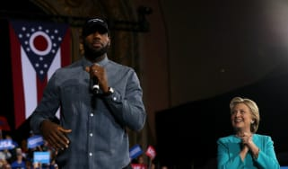 LeBron James speaks at a Clinton rally