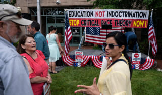 Opponents of Critical Race Theory protest in Virginia