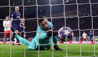 Tottenham goalkeeper Hugo Lloris fails to save Marcel Sabitzer's second goal for RB Leipzig