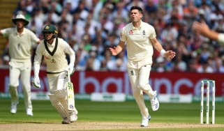 England's Jimmy Anderson bowls against Australia in the first Ashes Test at Edgbaston