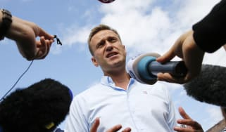 Alexi Navalny addresses reporters in Moscow.