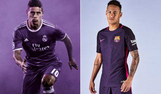 Real Madrid Barcelona purple shirts, James Rodriguez, Neymar