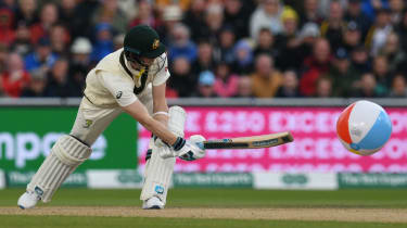Australia's Steve Smith hits a beach ball on day one of the Old Trafford Ashes Test