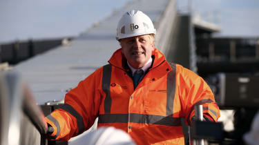 Boris Johnson on a building site
