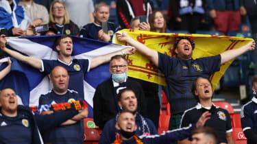 Scotland fans cheer their team in the Euro 2020 match against the Czech Republic