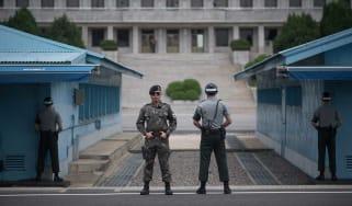 South Korean soldiers guard the Demilitarised Zone at Panmunjom