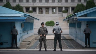 South Korean soldiers guard the Demilitarised Zone at Panmunjom