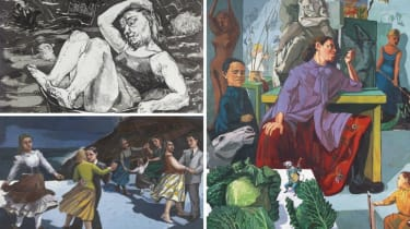 Clockwise from top left: Paula Rego's 'Flood' (1996), 'The Artist in Her Studio' (1993) and 'The Dance' (1988)