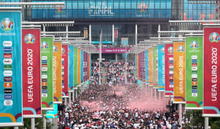 Supporters packed Wembley Way ahead of the Euro 2020 final