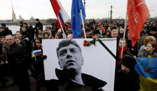 Russia's opposition supporters march in memory of murdered Kremlin critic Boris Nemtsov