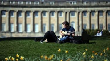 People enjoying the sunshine in the UK