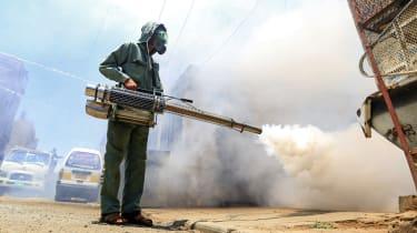 Fumigating a neighbourhood in the Huthi rebel-held capital Sanaa