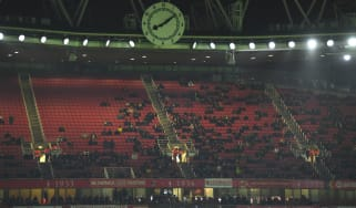 There were thousands of empty seats as Arsenal lost 2-1 to Eintracht Frankfurt