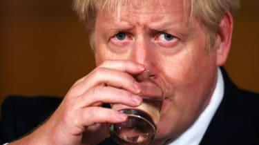 Boris Johnson speaks during a virtual press conference on the coronavirus pandemic inside 10 Downing Street