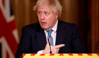 Boris Johnson speaks during a virtual press conference at No.10 Downing Street.