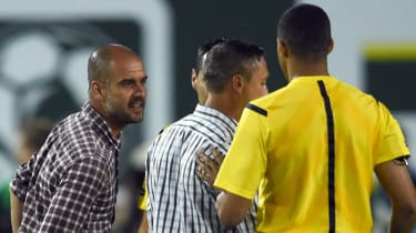 Bayern Munich coach Pep Guardiola argues with the referee during an MLS All-Star game