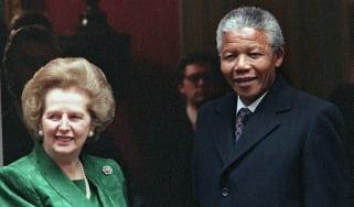 Margaret Thatcher hosted Nelson Mandela at Downing Street in 1990