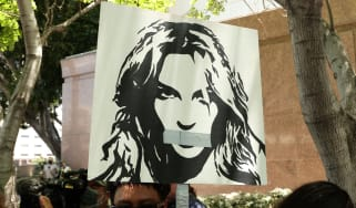 Protesters in Los Angeles during Britney Spears' conservatorship hearing in June