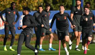 Chelsea players train ahead of the Champions League clash against Ajax