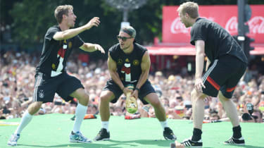 Members of Germany's World Cup winning squad celebrate in Berlin