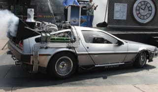 A model of Back to the Future's flying DeLorean