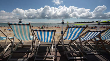 The summer weather at a beach in Weymouth