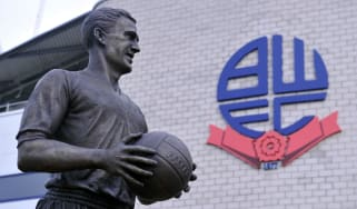 The statue of Nat Lofthouse outside the Bolton Wanderers stadium