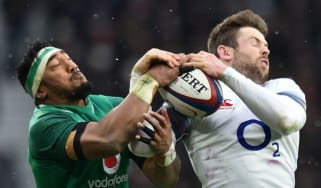 Ireland centre Bundee Aki and England winger Elliot Daly clash in the 2018 Six Nations
