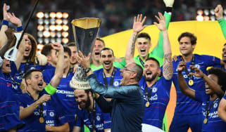 Chelsea manager Maurizio Sarri celebrates with the Europa League trophy in Baku